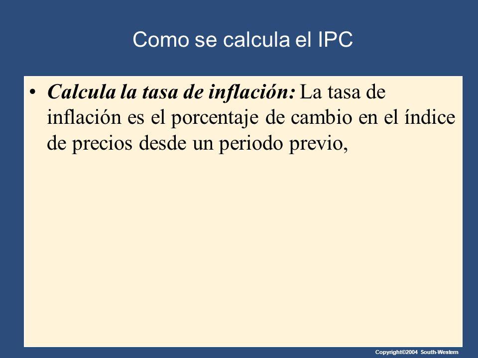 Copyright©2004 South-Western Como se calcula el IPC Calcula la tasa de inflación: La tasa de inflación es el porcentaje de cambio en el índice de prec