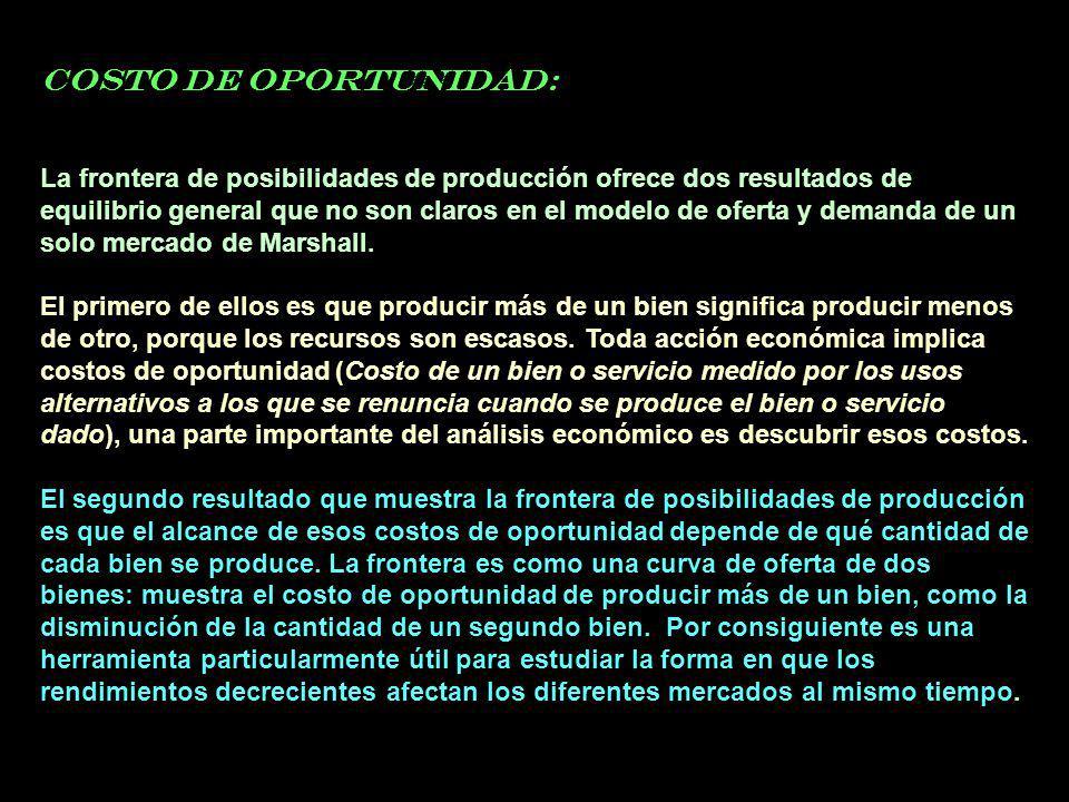 COSTO DE OPORTUNIDAD: La frontera de posibilidades de producción ofrece dos resultados de equilibrio general que no son claros en el modelo de oferta