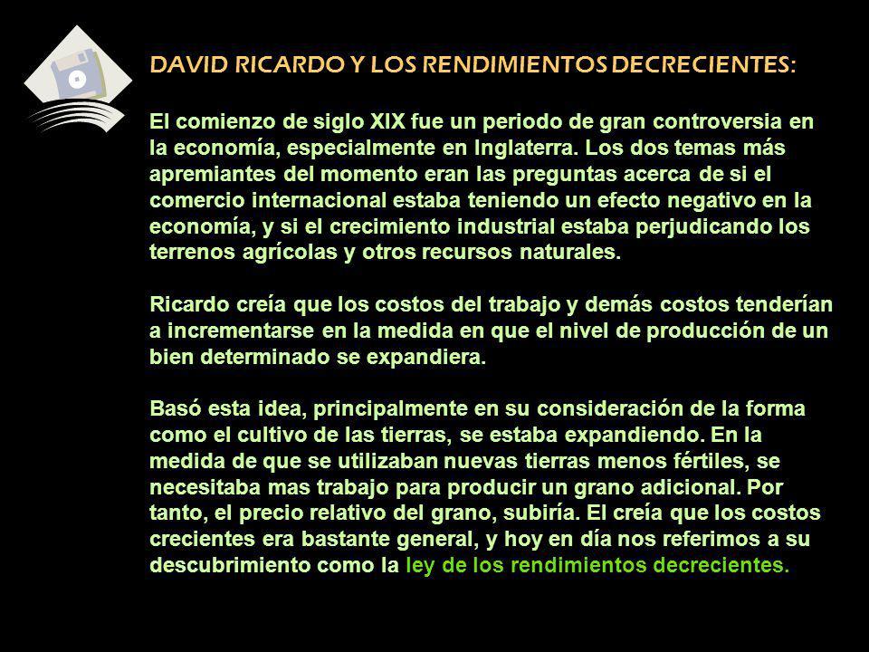 DAVID RICARDO Y LOS RENDIMIENTOS DECRECIENTES: El comienzo de siglo XIX fue un periodo de gran controversia en la economía, especialmente en Inglaterr