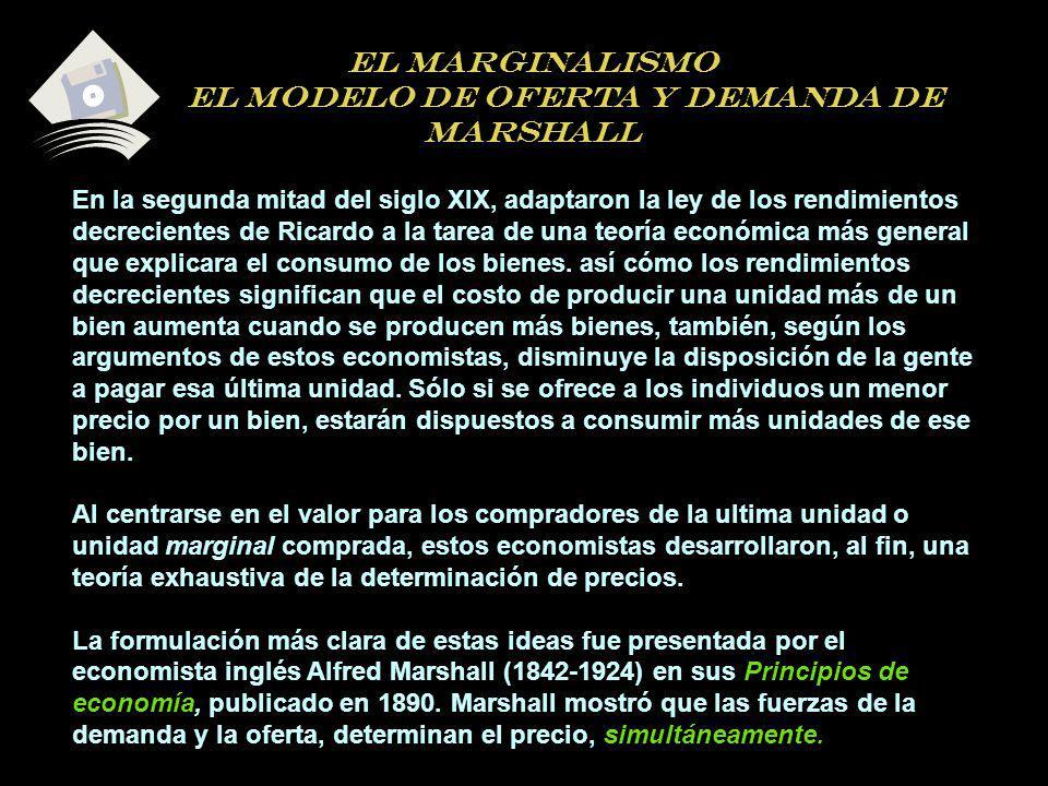 EL MARGINALISMO EL MODELO DE OFERTA Y DEMANDA DE MARSHALL En la segunda mitad del siglo XIX, adaptaron la ley de los rendimientos decrecientes de Rica