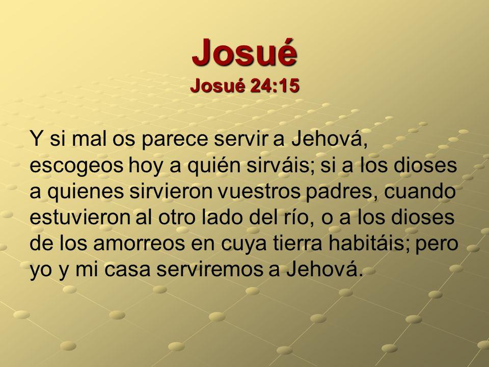 Josué Josué 24:15 Y si mal os parece servir a Jehová, escogeos hoy a quién sirváis; si a los dioses a quienes sirvieron vuestros padres, cuando estuvi