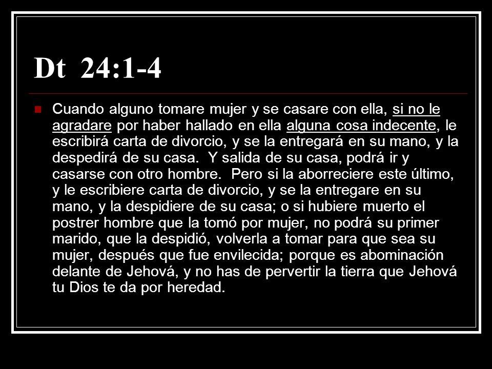 Mt 5:31-32 También fue dicho: Cualquiera que repudie a su mujer, dele carta de divorcio.