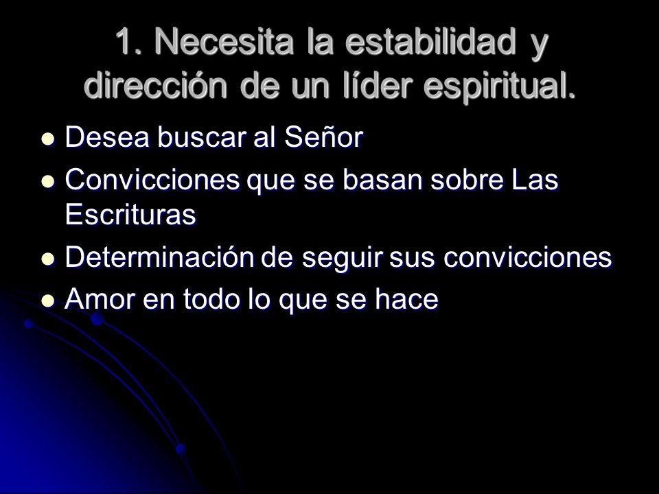 1. Necesita la estabilidad y dirección de un líder espiritual. Desea buscar al Señor Desea buscar al Señor Convicciones que se basan sobre Las Escritu