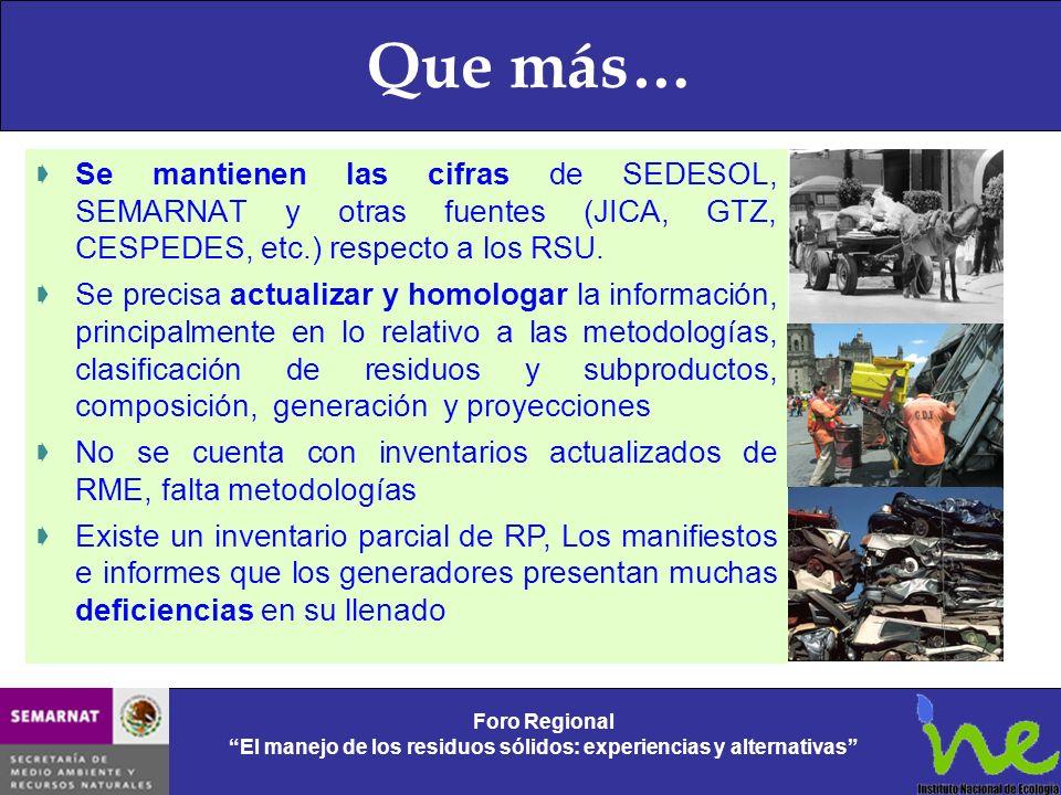 Que más… Se mantienen las cifras de SEDESOL, SEMARNAT y otras fuentes (JICA, GTZ, CESPEDES, etc.) respecto a los RSU. Se precisa actualizar y homologa
