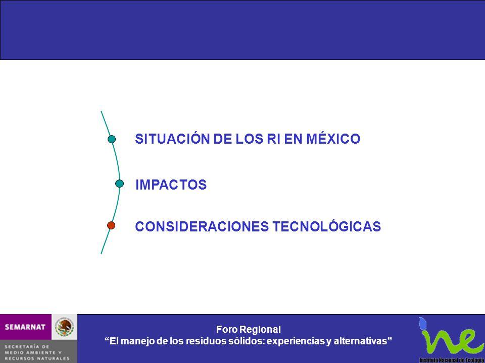 Foro Regional El manejo de los residuos sólidos: experiencias y alternativas SITUACIÓN DE LOS RI EN MÉXICO IMPACTOS CONSIDERACIONES TECNOLÓGICAS
