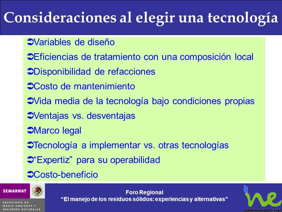 Consideraciones al elegir una tecnología Foro Regional El manejo de los residuos sólidos: experiencias y alternativas Foro Regional El manejo de los r