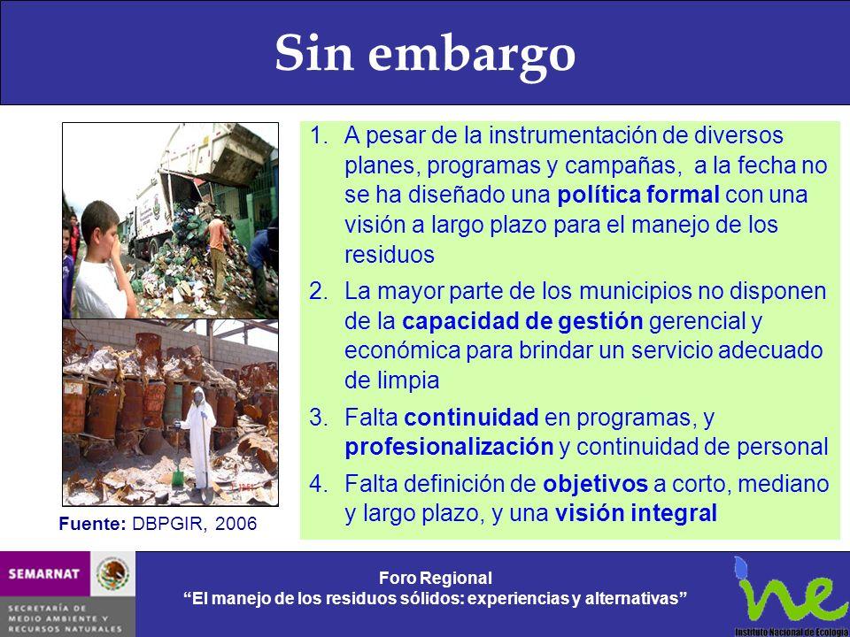 Sin embargo Foro Regional El manejo de los residuos sólidos: experiencias y alternativas Foro Regional El manejo de los residuos sólidos: experiencias