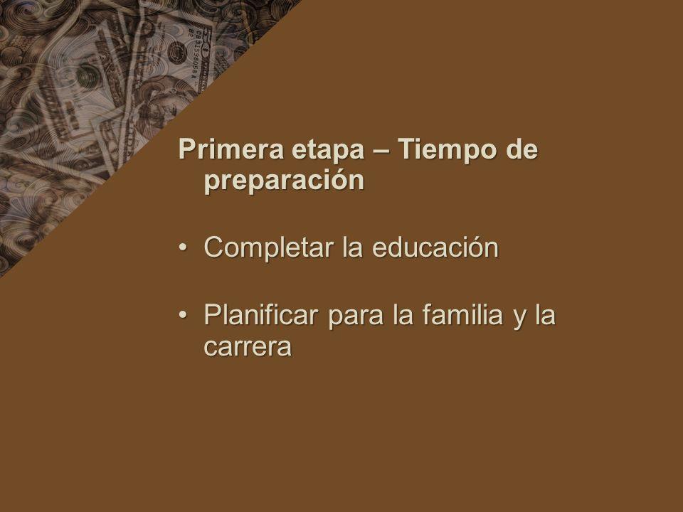 Primera etapa – Tiempo de preparación Completar la educaciónCompletar la educación Planificar para la familia y la carreraPlanificar para la familia y la carrera