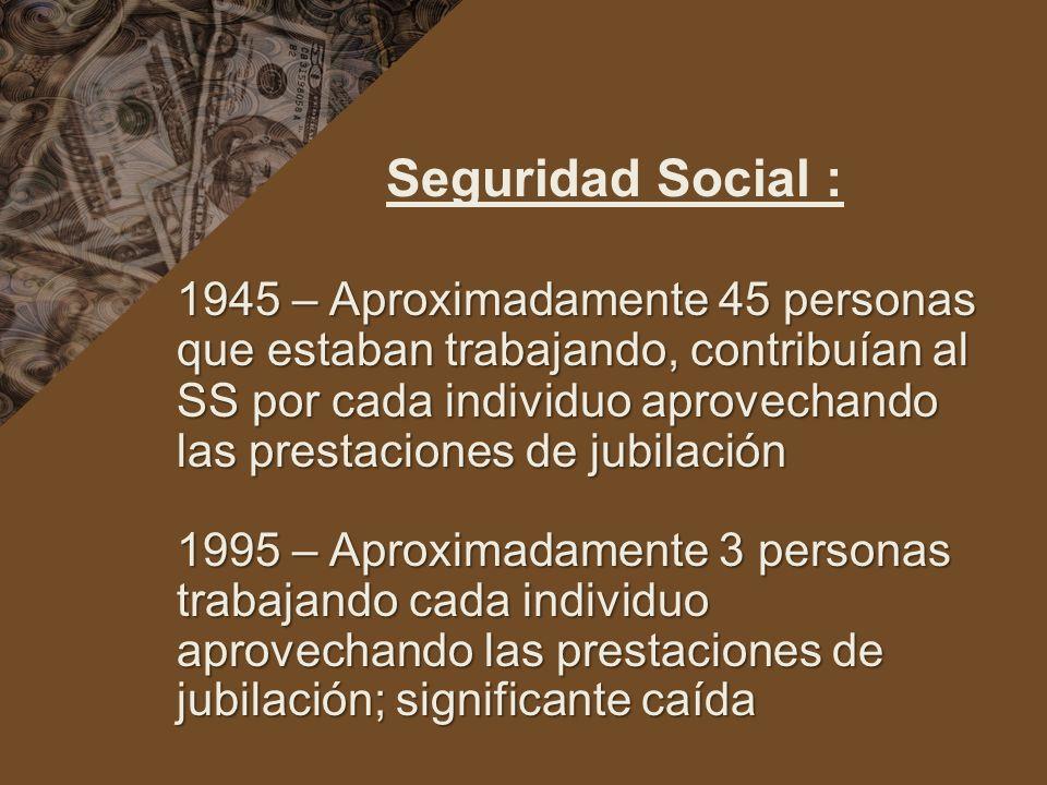 Seguridad Social : 1945 – Aproximadamente 45 personas que estaban trabajando, contribuían al SS por cada individuo aprovechando las prestaciones de jubilación 1995 – Aproximadamente 3 personas trabajando cada individuo aprovechando las prestaciones de jubilación; significante caída