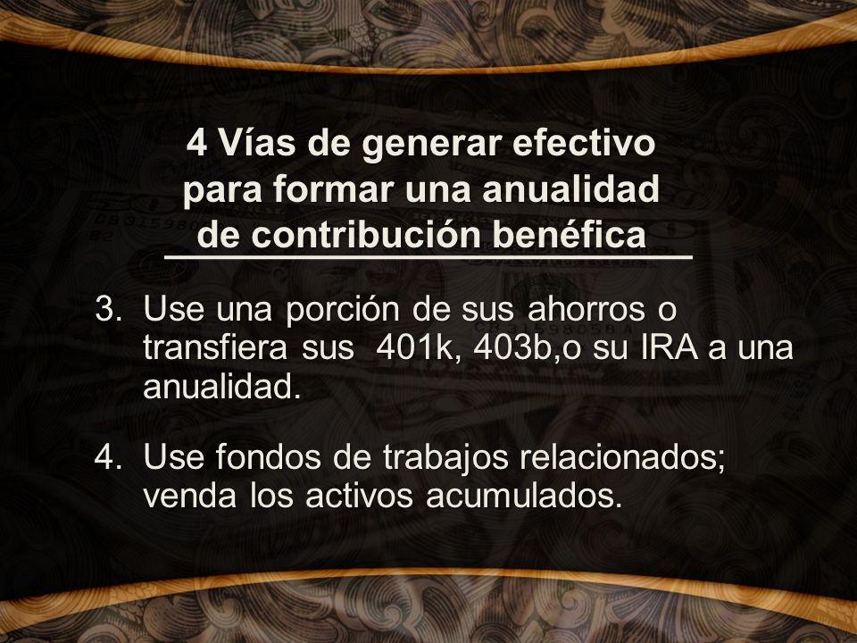 4 Vías de generar efectivo para formar una anualidad de contribución benéfica 3.Use una porción de sus ahorros o transfiera sus 401k, 403b,o su IRA a una anualidad.