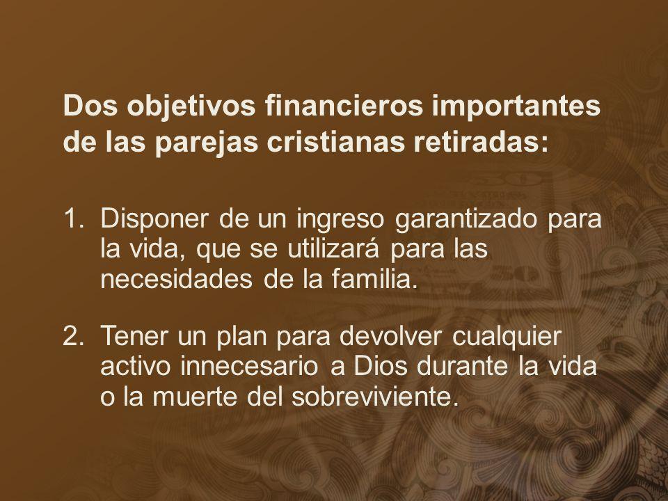 Dos objetivos financieros importantes de las parejas cristianas retiradas:. 1.Disponer de un ingreso garantizado para la vida, que se utilizará para l