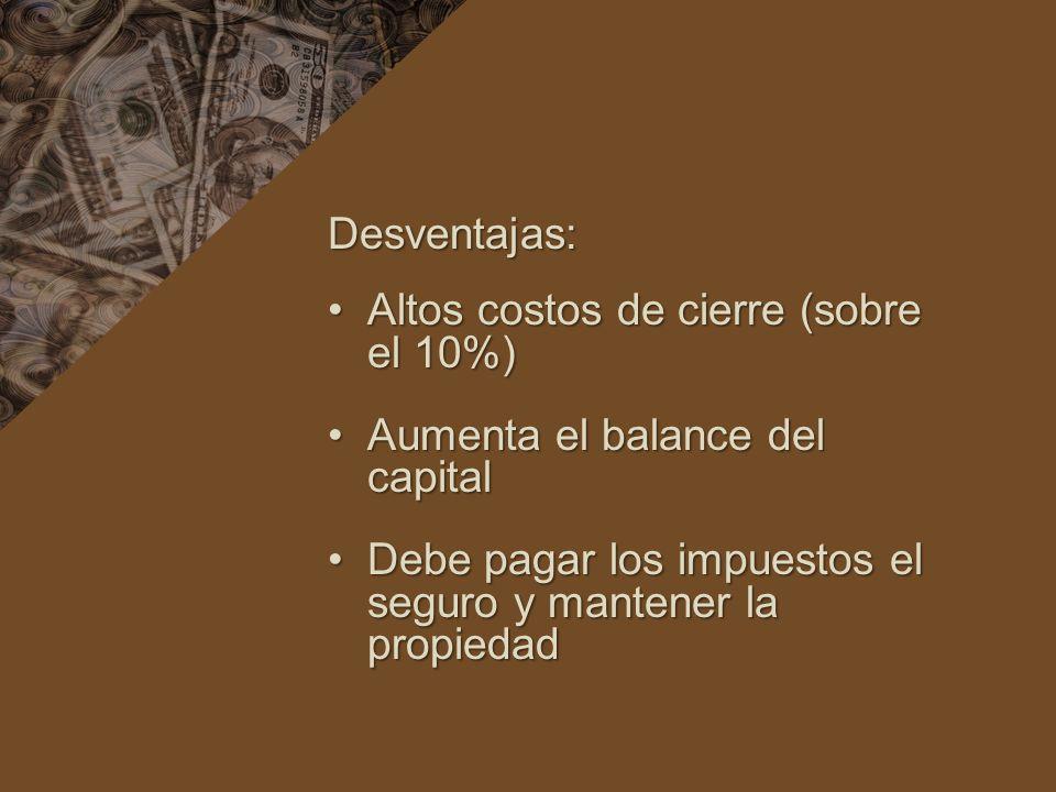 Desventajas: Altos costos de cierre (sobre el 10%)Altos costos de cierre (sobre el 10%) Aumenta el balance del capitalAumenta el balance del capital Debe pagar los impuestos el seguro y mantener la propiedadDebe pagar los impuestos el seguro y mantener la propiedad
