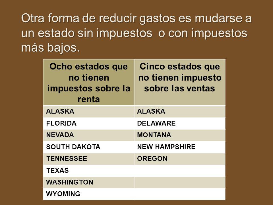 Otra forma de reducir gastos es mudarse a un estado sin impuestos o con impuestos más bajos. Ocho estados que no tienen impuestos sobre la renta Cinco