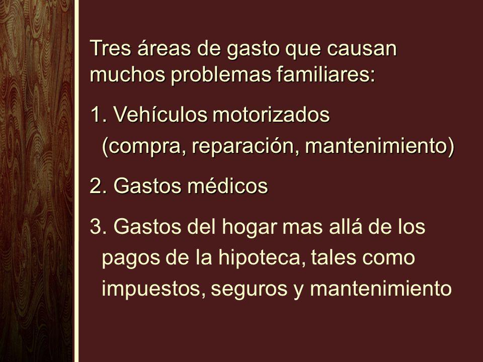 Tres áreas de gasto que causan muchos problemas familiares: 1. Vehículos motorizados (compra, reparación, mantenimiento) (compra, reparación, mantenim