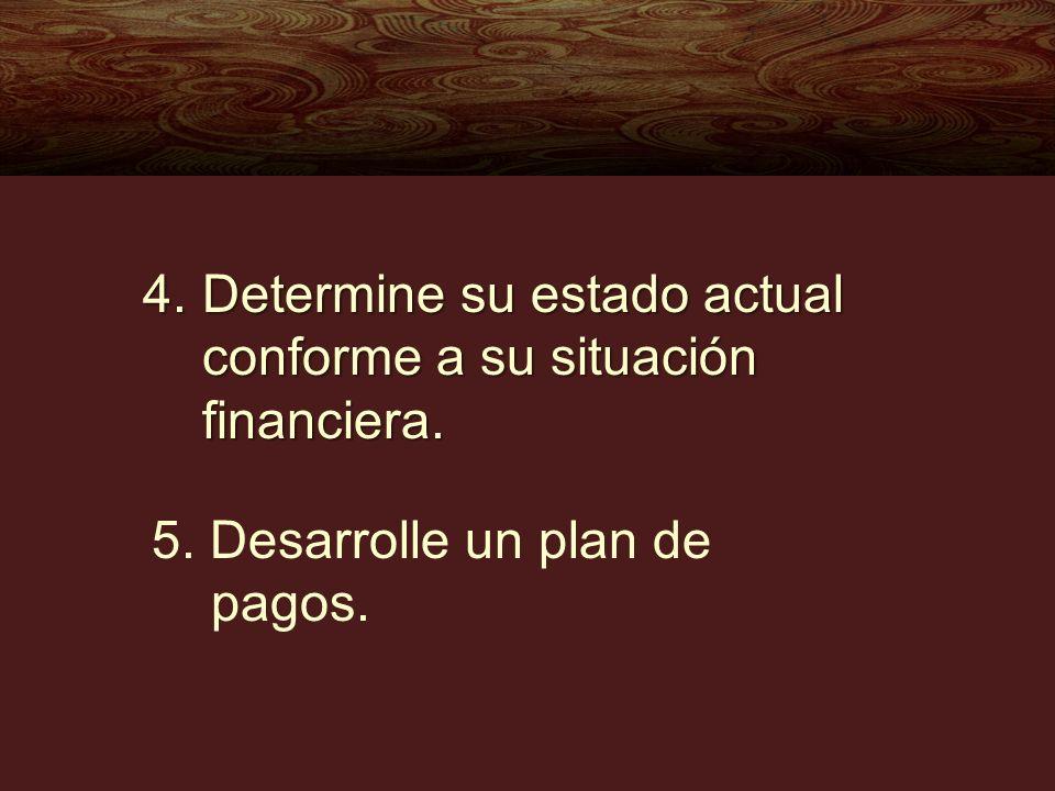 4.Determine su estado actual conforme a su situación financiera. 5. Desarrolle un plan de pagos.