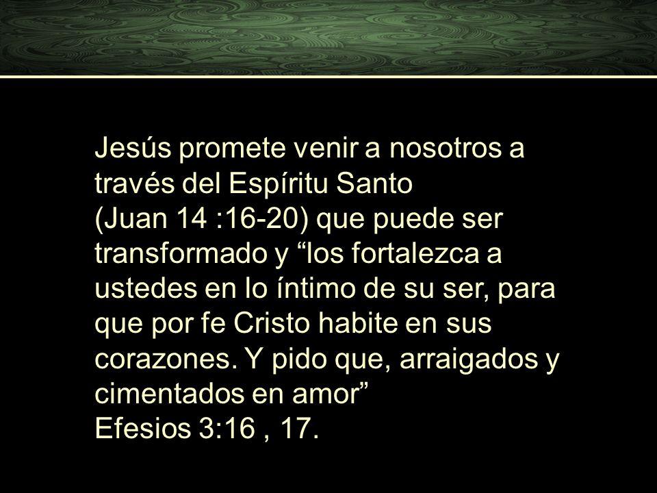 Jesús promete venir a nosotros a través del Espíritu Santo (Juan 14 :16-20) que puede ser transformado y los fortalezca a ustedes en lo íntimo de su s