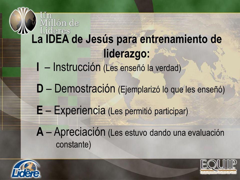 I – Instrucción (Les enseñó la verdad) D – Demostración (Ejemplarizó lo que les enseñó) E – Experiencia (Les permitió participar) A – Apreciación (Les