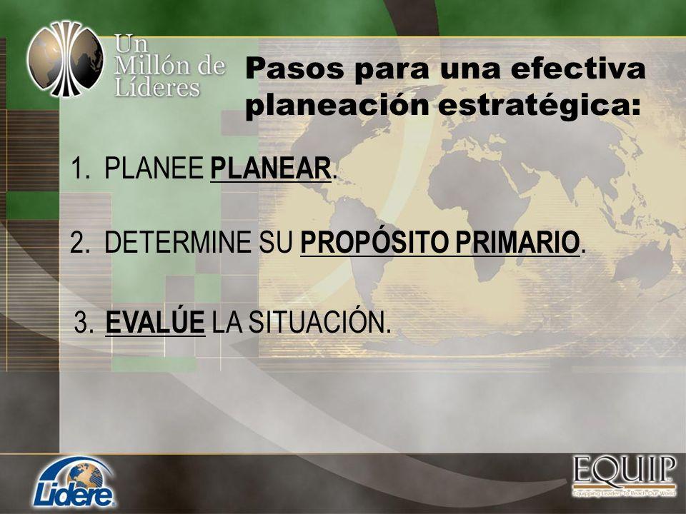 1.PLANEE PLANEAR. Pasos para una efectiva planeación estratégica: 2.DETERMINE SU PROPÓSITO PRIMARIO. 3. EVALÚE LA SITUACIÓN.