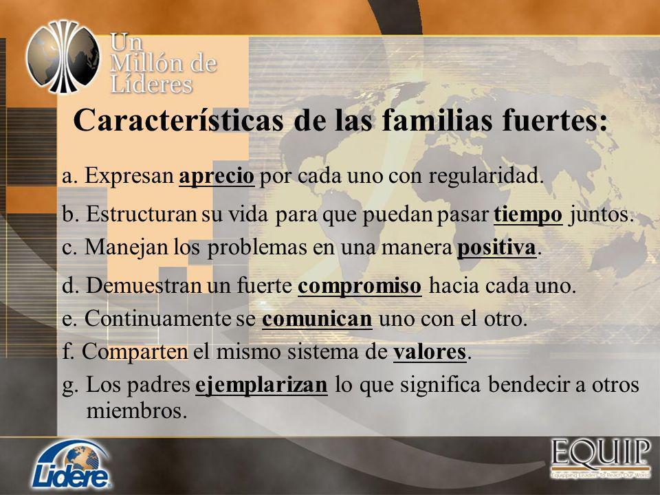 Características de las familias fuertes: a. Expresan aprecio por cada uno con regularidad. c. Manejan los problemas en una manera positiva. d. Demuest