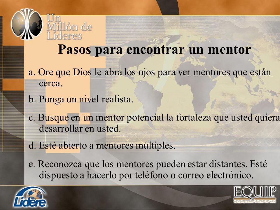 Pasos para encontrar un mentor a. Ore que Dios le abra los ojos para ver mentores que están cerca. b. Ponga un nivel realista. c. Busque en un mentor