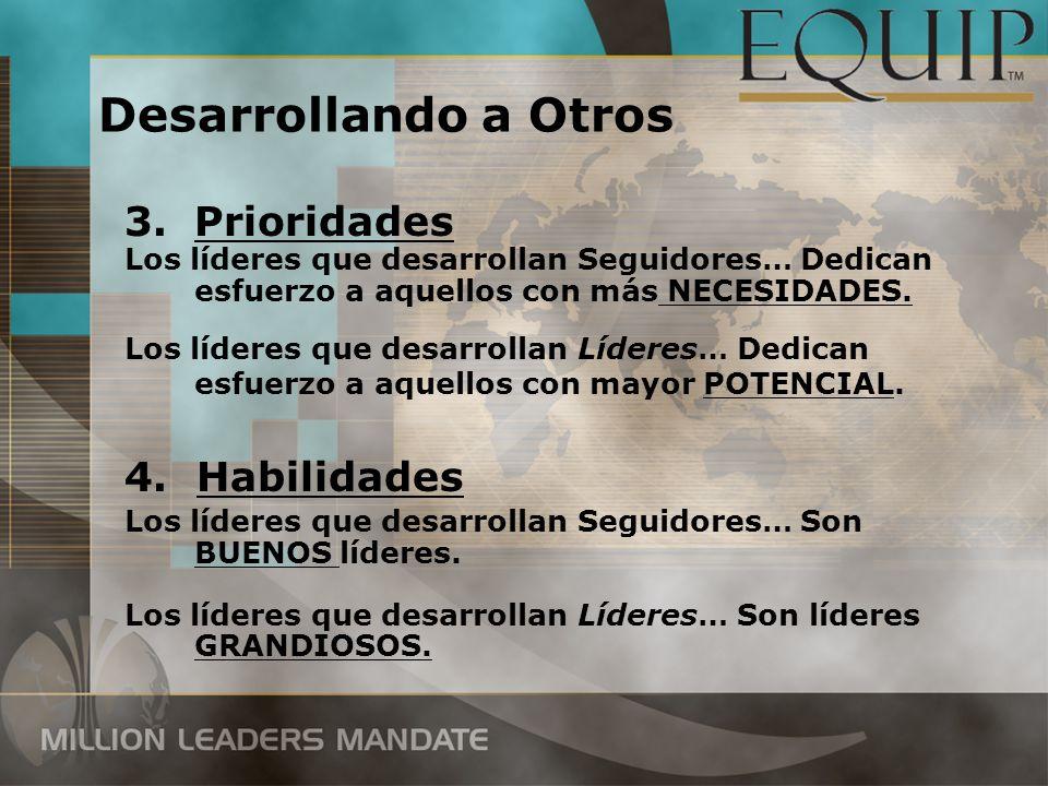 3.Prioridades Los líderes que desarrollan Seguidores… Dedican esfuerzo a aquellos con más NECESIDADES. Los líderes que desarrollan Líderes… Dedican es