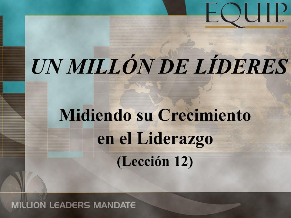 UN MILLÓN DE LÍDERES Midiendo su Crecimiento en el Liderazgo (Lección 12)