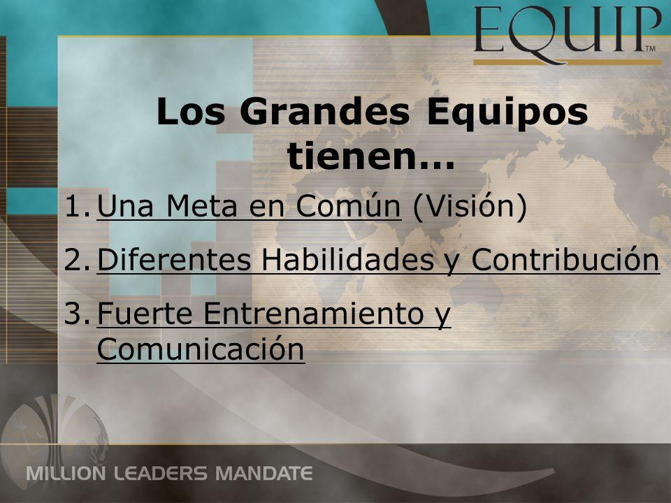 Los Grandes Equipos tienen… 1.Una Meta en Común (Visión) 2.Diferentes Habilidades y Contribución 3.Fuerte Entrenamiento y Comunicación