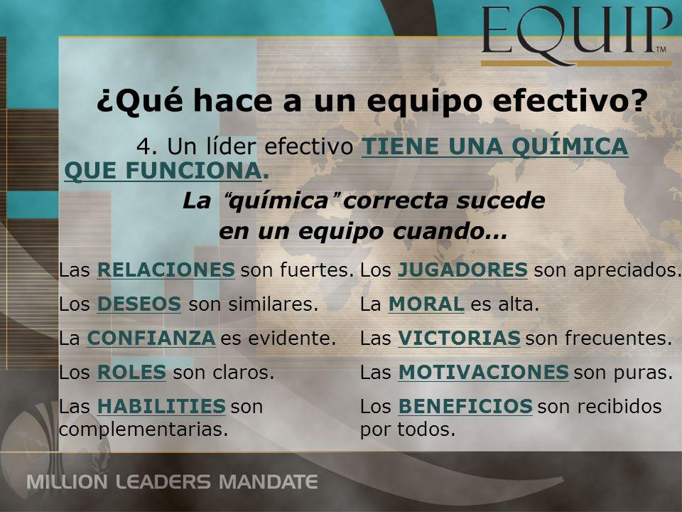 4. Un líder efectivo TIENE UNA QUÍMICA QUE FUNCIONA. La química correcta sucede en un equipo cuando… Las RELACIONES son fuertes. Los DESEOS son simila