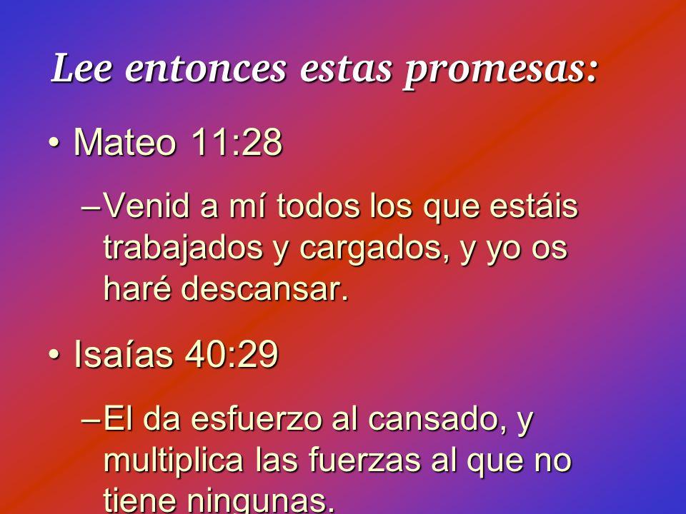 Lee entonces estas promesas: Mateo 11:28Mateo 11:28 –Venid a mí todos los que estáis trabajados y cargados, y yo os haré descansar. Isaías 40:29Isaías
