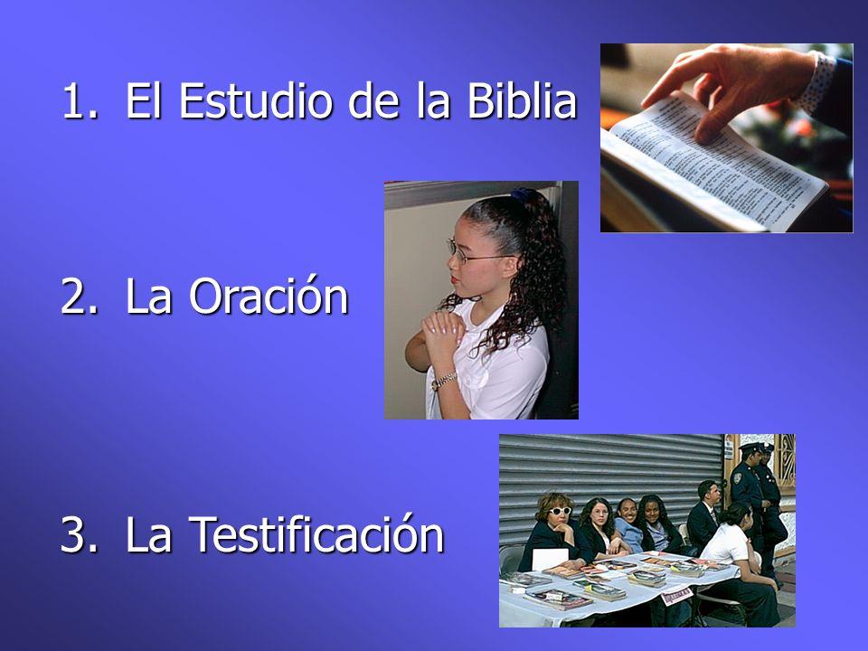 1.El Estudio de la Biblia 2.La Oración 3.La Testificación