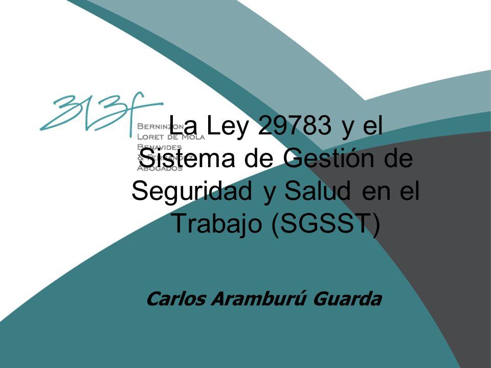 La Ley 29783 y el Sistema de Gestión de Seguridad y Salud en el Trabajo (SGSST) Carlos Aramburú Guarda