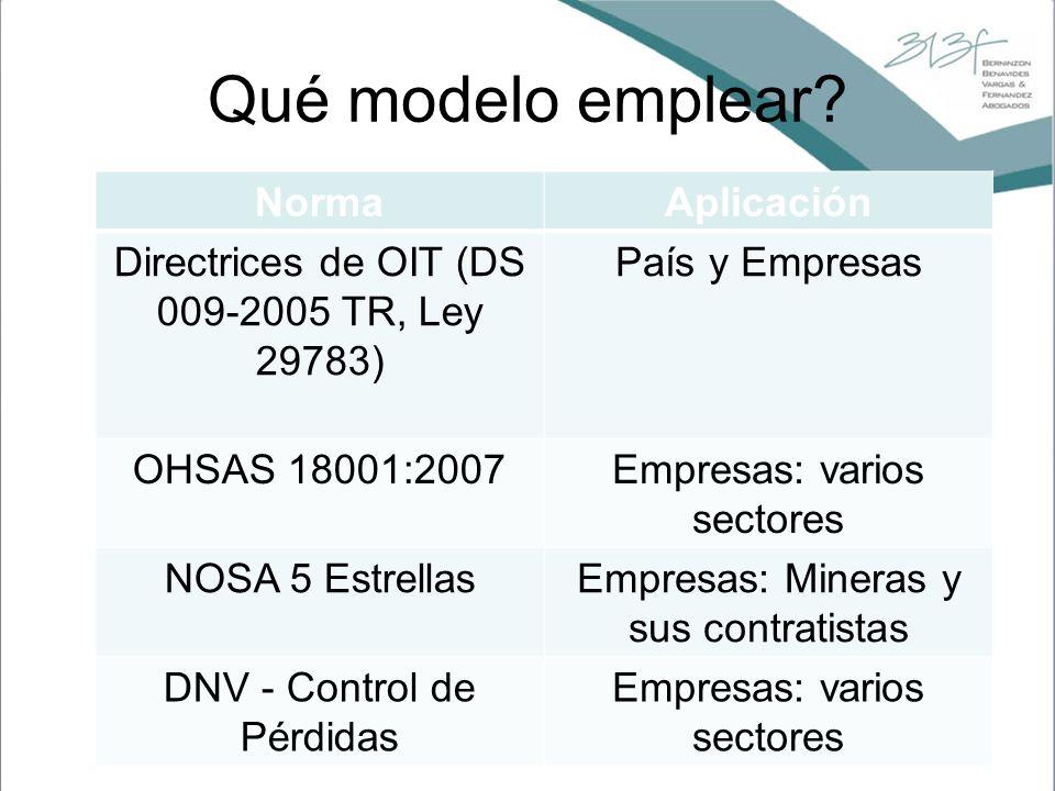 Qué modelo emplear? NormaAplicación Directrices de OIT (DS 009-2005 TR, Ley 29783) País y Empresas OHSAS 18001:2007Empresas: varios sectores NOSA 5 Es
