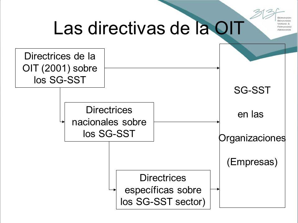 Directrices de la OIT (2001) sobre los SG-SST Directrices específicas sobre los SG-SST sector) Directrices nacionales sobre los SG-SST SG-SST en las O