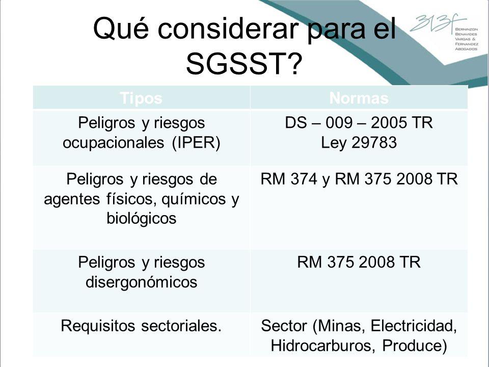 Qué considerar para el SGSST? TiposNormas Peligros y riesgos ocupacionales (IPER) DS – 009 – 2005 TR Ley 29783 Peligros y riesgos de agentes físicos,