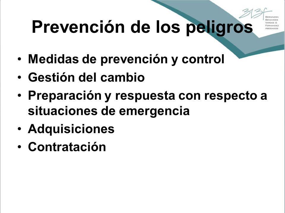 Prevención de los peligros Medidas de prevención y control Gestión del cambio Preparación y respuesta con respecto a situaciones de emergencia Adquisi