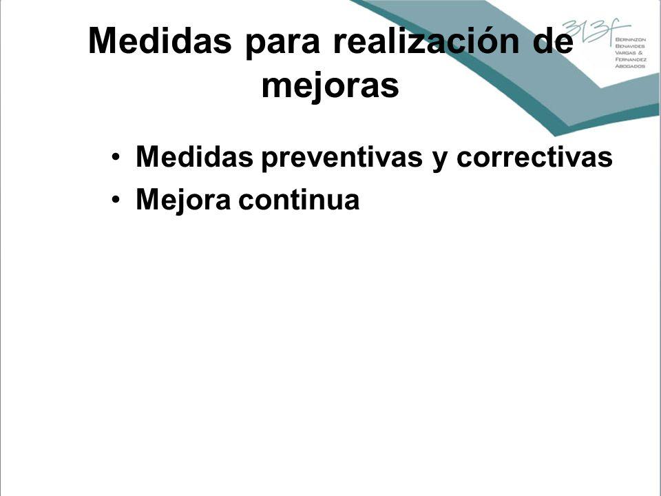 Medidas para realización de mejoras Medidas preventivas y correctivas Mejora continua