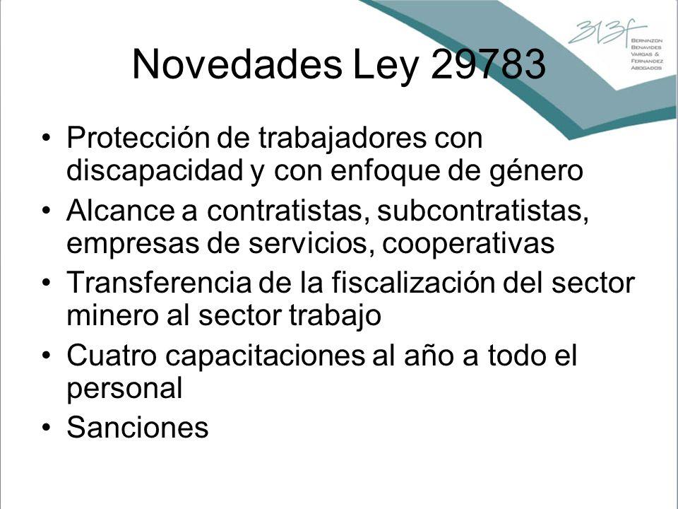 Novedades Ley 29783 Protección de trabajadores con discapacidad y con enfoque de género Alcance a contratistas, subcontratistas, empresas de servicios