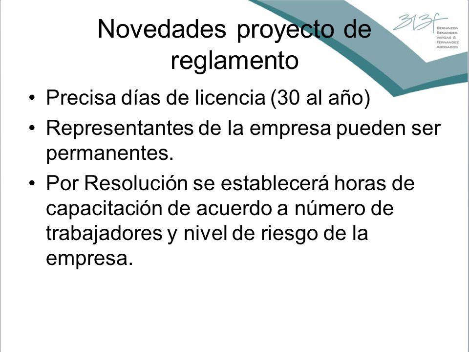 Novedades proyecto de reglamento Precisa días de licencia (30 al año) Representantes de la empresa pueden ser permanentes. Por Resolución se establece