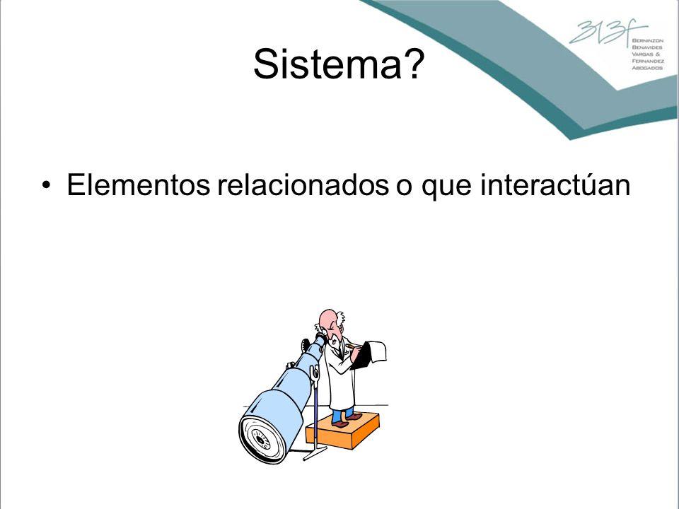 Sistema? Elementos relacionados o que interactúan