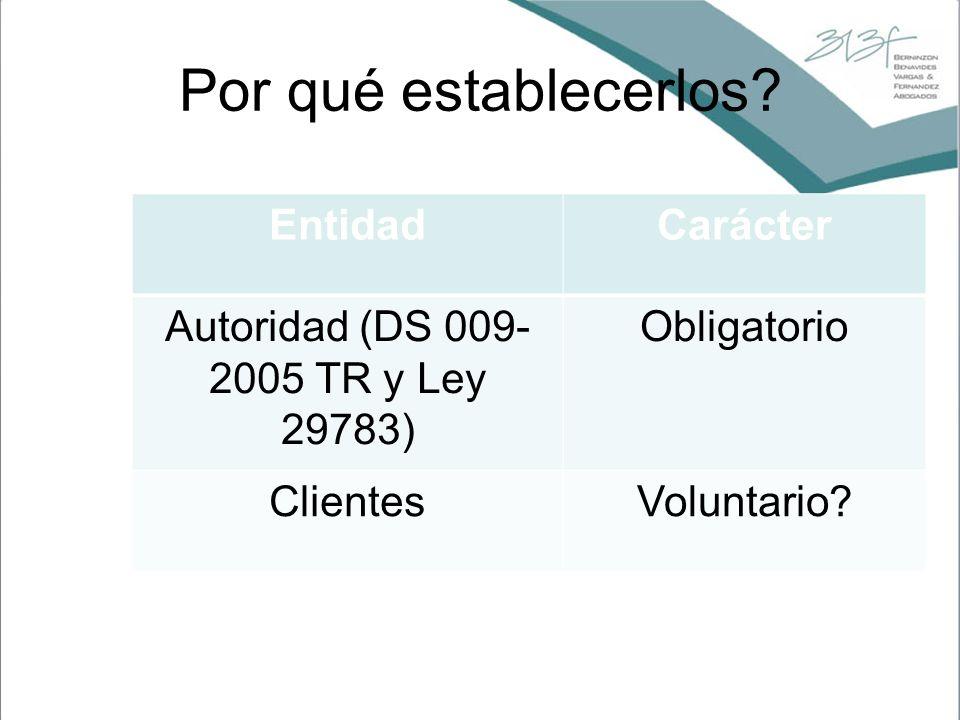 Por qué establecerlos? EntidadCarácter Autoridad (DS 009- 2005 TR y Ley 29783) Obligatorio ClientesVoluntario?