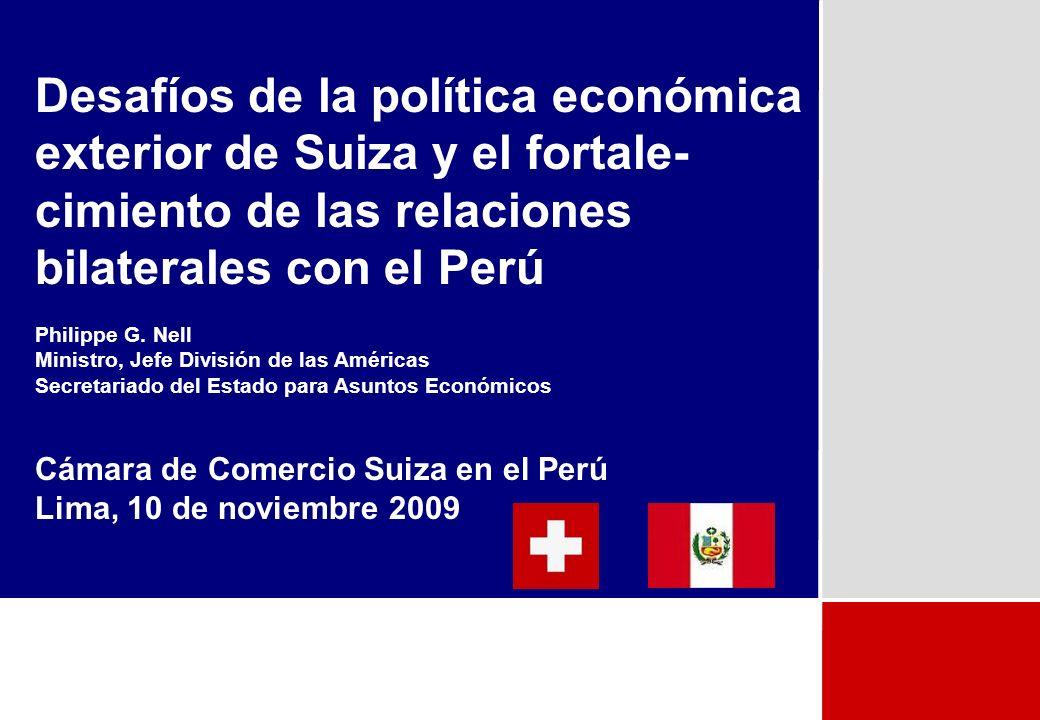 2 Plan I.Suiza y Perú II.Política Económica Exterior Suiza III.Negociaciones del Ciclo de Doha IV.Relaciones con la Unión Europea V.Acuerdos de Libre Comercio (incluyendo Asociacion Europea de Libre Comercio – Perú)