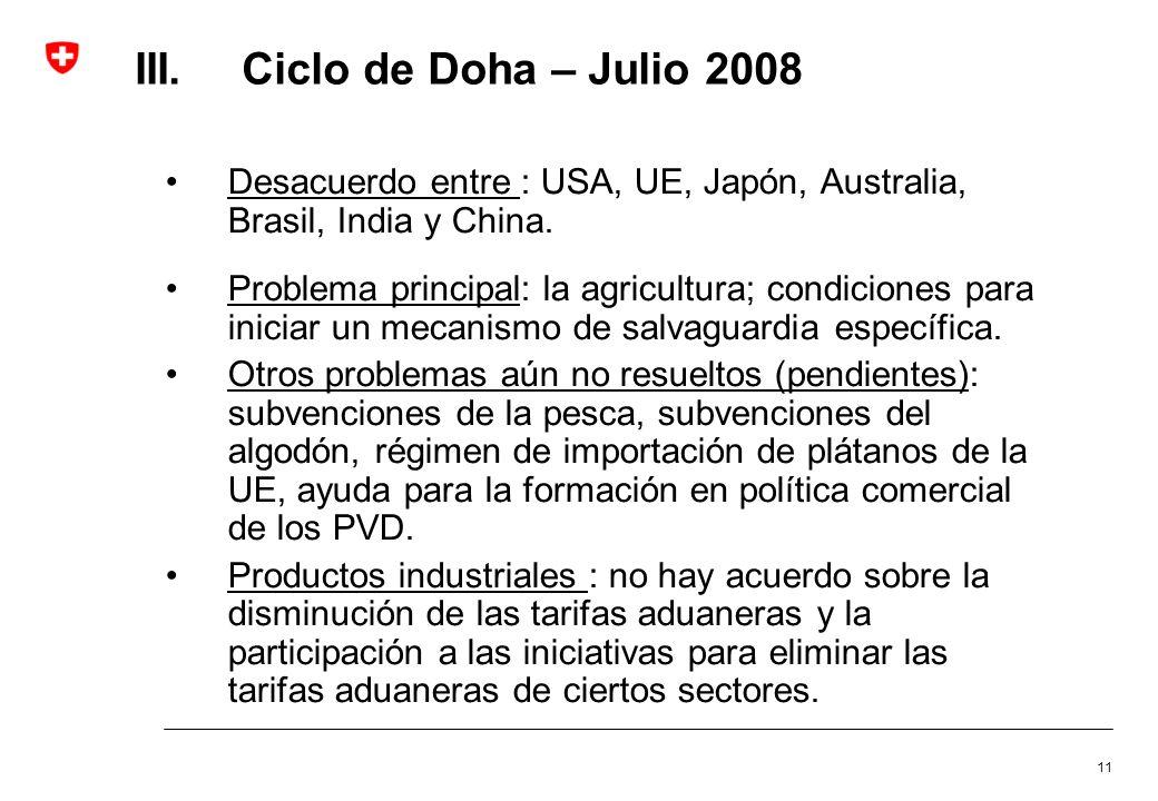 11 III.Ciclo de Doha – Julio 2008 Desacuerdo entre : USA, UE, Japón, Australia, Brasil, India y China. Problema principal: la agricultura; condiciones