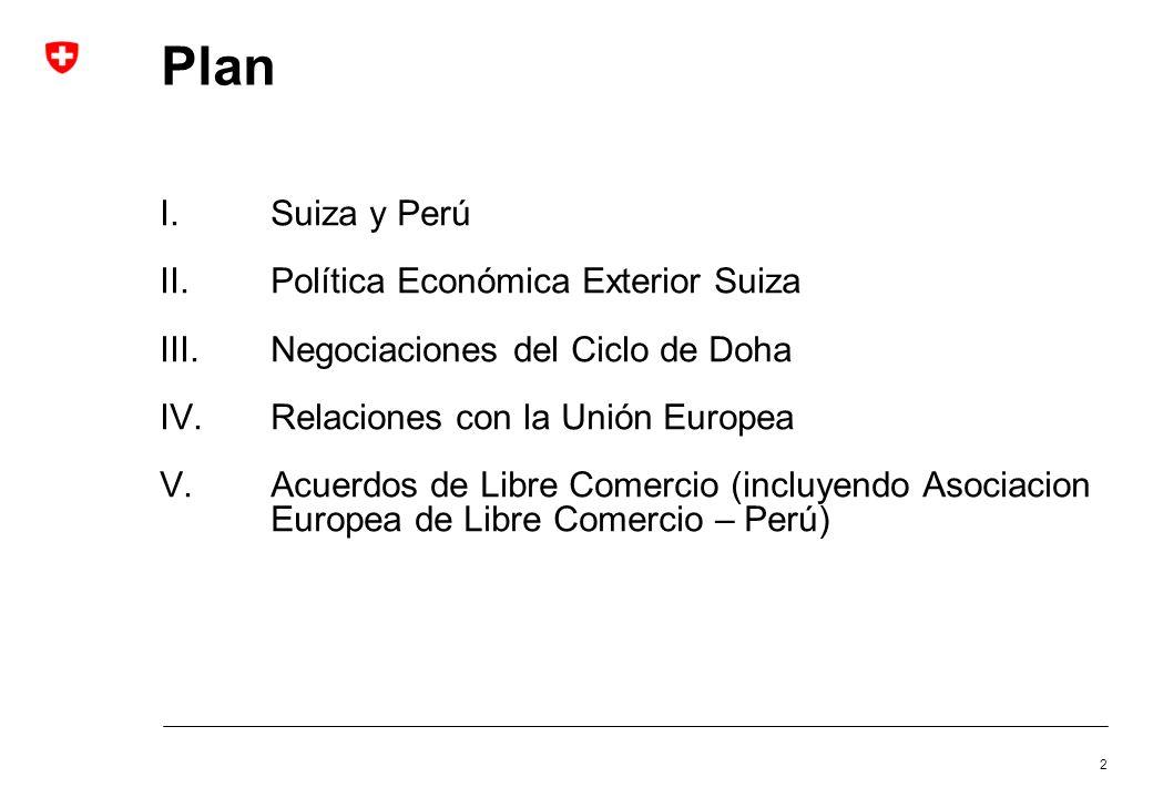 2 Plan I.Suiza y Perú II.Política Económica Exterior Suiza III.Negociaciones del Ciclo de Doha IV.Relaciones con la Unión Europea V.Acuerdos de Libre