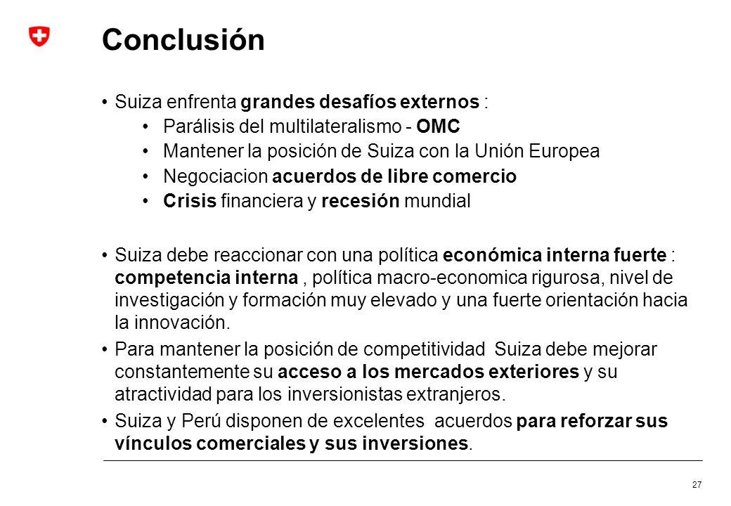 Conclusión Suiza enfrenta grandes desafíos externos : Parálisis del multilateralismo - OMC Mantener la posición de Suiza con la Unión Europea Negociac