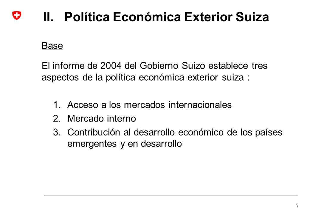 II. Política Económica Exterior Suiza Base El informe de 2004 del Gobierno Suizo establece tres aspectos de la política económica exterior suiza : 1.A