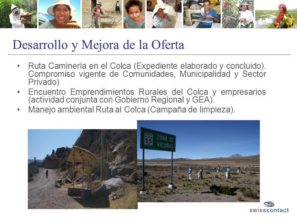 Desarrollo y Mejora de la Oferta Ruta Caminería en el Colca (Expediente elaborado y concluido). Compromiso vigente de Comunidades, Municipalidad y Sec