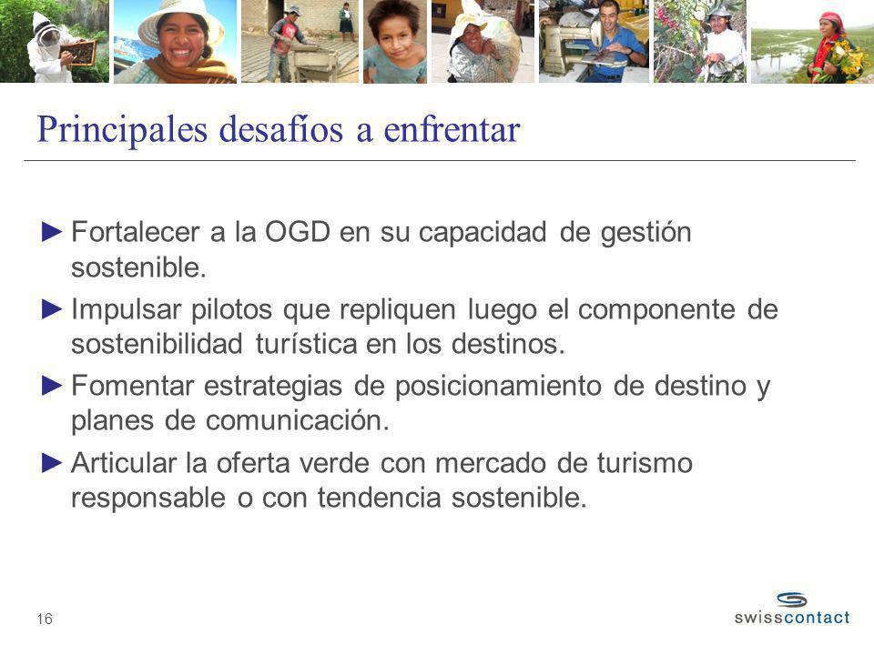 Principales desafíos a enfrentar Fortalecer a la OGD en su capacidad de gestión sostenible. Impulsar pilotos que repliquen luego el componente de sost