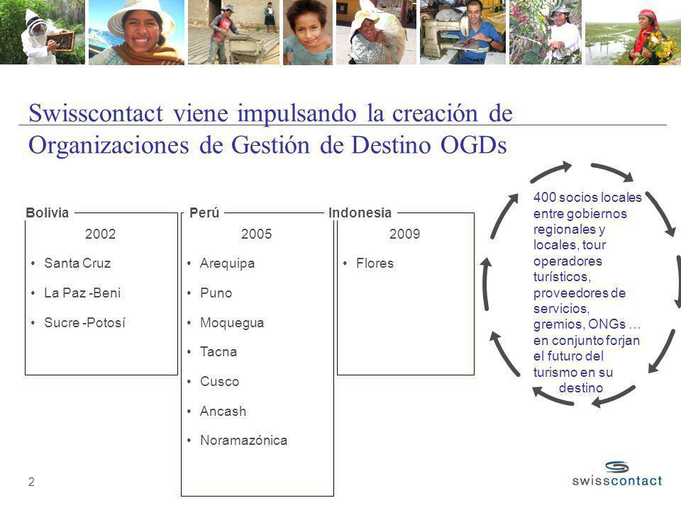 2 Swisscontact viene impulsando la creación de Organizaciones de Gestión de Destino OGDs 2002 Santa Cruz La Paz -Beni Sucre -Potosí Bolivia 2005 Arequ