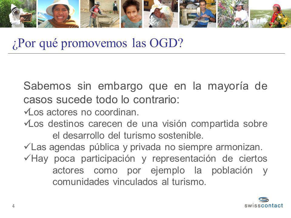 ¿Por qué promovemos las OGD? 4 Sabemos sin embargo que en la mayoría de casos sucede todo lo contrario: Los actores no coordinan. Los destinos carecen