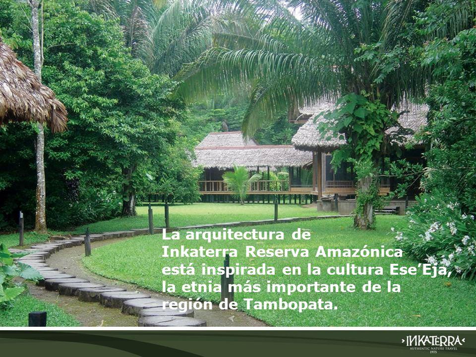 La arquitectura de Inkaterra Reserva Amazónica está inspirada en la cultura EseEja, la etnia más importante de la región de Tambopata.